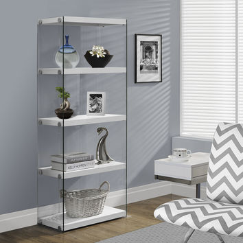 "Glossy White Hollow-Core / Tempered Glass 60""H Bookcase"