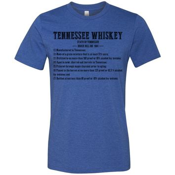 Adult Tennessee Whiskey Requirements on a Heather True Royal T-Shirt