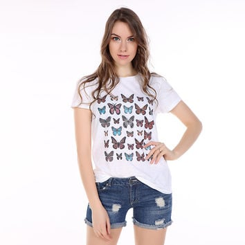 White Butterfly Print T-Shirt