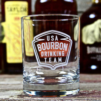 USA Bourbon Drinking Team Bourbon Glass