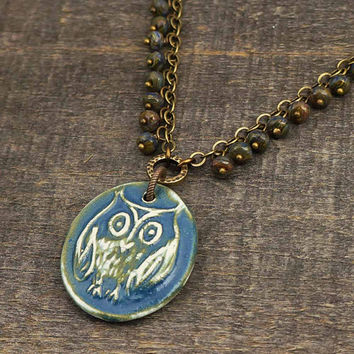 Ceramic owl necklace, antiqued brass chain, blue Czech glass beads, handmade jewelry 19 1/4 inches 49cm