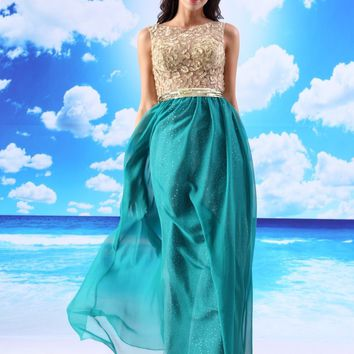 CloverBridal in stock fast shipping sleeveless long christmas dress ocean blue illusion embroidery lace+chiffon 2018 spring
