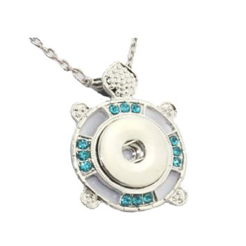 Newest Crystal Turtle Metal Snap Button Pendant Necklace