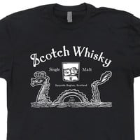 Scotch Whisky T Shirt Loch Ness Monster Shirt Scotland Tee Shirt Scottish Bar Shirt