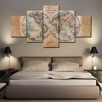 3-4-5 Piece World Map Earth Canvas Art Wall Pictures Canvas Print