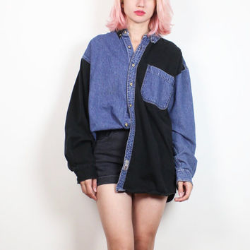 Vintage 1990s Chambray Shirt Black Blue Denim Color Block Western Shirt 90s Oversized Boyfriend Shirt Blue Jean Long Sleeve L Extra Large XL