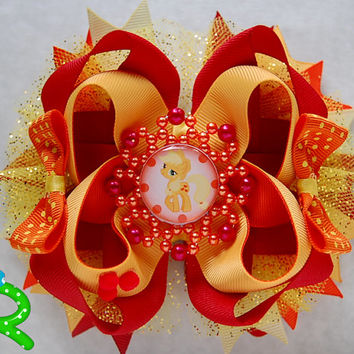 My little pony Hair Bow ,Applejack boutique bow , Ott Bow , Applejack stacked Bow , my little pony layered Bow