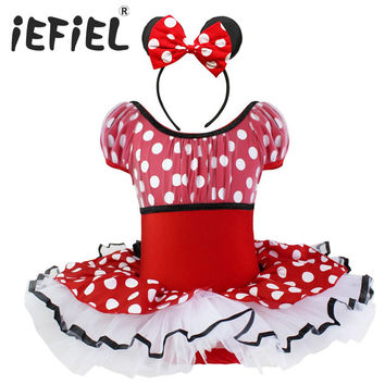 Girls Polka Dot Tutu Minnie Mouse Ballet Dress with Headband Baby Christmas Gift Minnie Mouse Halloween Party Gymnastics 2T-10