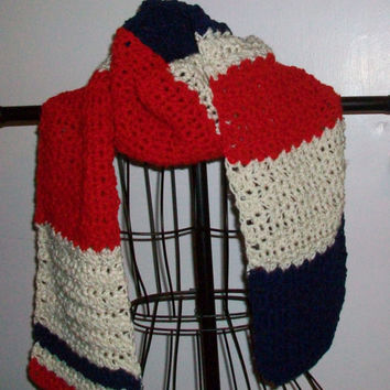 Scarf in Red Cream and Blue, Handmade Crochet