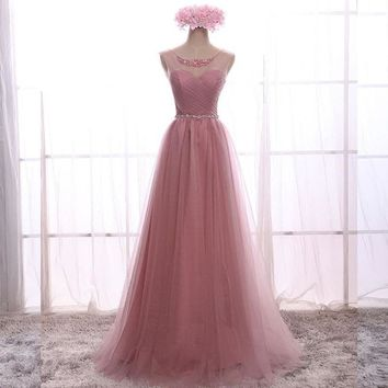 Crystal Lace Long Prom Dress For Party Elegant A Line Special Occasion Dresses Sleeveless Floor Length Lace Up Back Summer Dress
