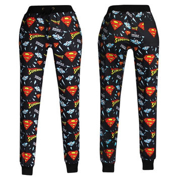Women Pants emoji joggers Clothes Casual Women's emoji Pants sports trousers Superman Loose Pant = 1945948292