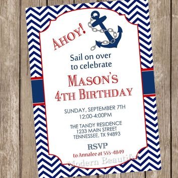 Ahoy Chevron nautical birthday invitation, nautical birthday, anchor invitation, boys birthday, red and navy, nautical, digital file