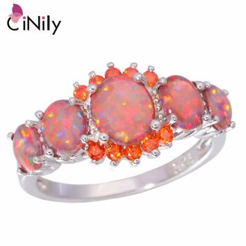 Orange Fire Opal Orange Garnet Silver Plated Ring Wedding Party Gift Jewelry Ring Size 5-12