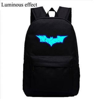 Batman Glow bags Luminous Printing Backpack Teenage Girls Cute Bookbags Vintage Laptop Backpacks Female Bat canvas backpack
