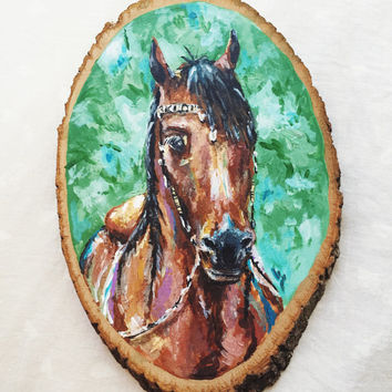 INDIAN HORSE original PAINTING - original acrylic country western horse painting horse head cowboy cowgirl wood slice painting nature wester