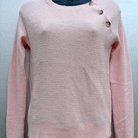 100% Cashmere Sweater - Fine Italian Cashmere - Pastel Pink - Side Button Collar - Cute - Women's Size Small (S)