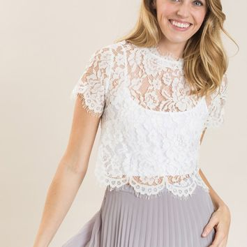 Shirley White Lace Capsleeve Top