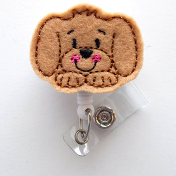 Puppy Face  - Name Badge Holder - Cute Badge Reel - Nurse Badge Holder - Nursing Badge Clip - Teacher Badge Reel