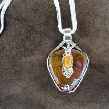 Bloody Basin Plume Agate w/Baltic Amber Accent Pendant