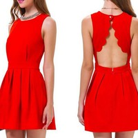 Streetstyle  Casual Red Plain Buttons Cut Out Pleated Sleeveless Mini Dress