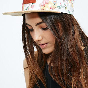 Reason Floral Snapback Cap in White and Yellow - Urban Outfitters