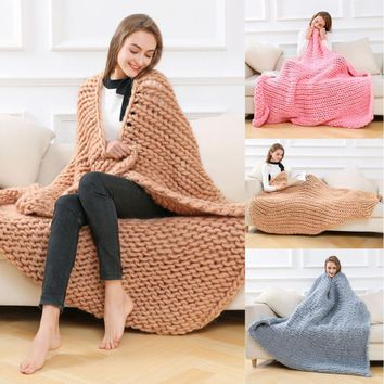 Thick Bulky Knitting Blanket for Home
