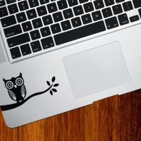 Owl on Branch - Trackpad / Keyboard - Vinyl Decal (Black)