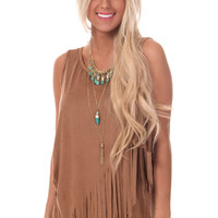 Brown Suede Fringe Layered Cross Top