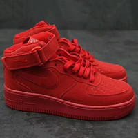 Nike Air Force 1 Mid '07  Trending High Tops Running Sport Fashion Casual Sneakers Shoes Red G-XYXY-FTQ