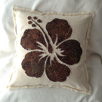 Hibiscus flower pillow cover in brown batik and natural distressed denim boho pillow cover 18""