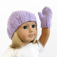 "18"" doll hat and mitten set, purple doll hat, doll clothes, 18 inch doll mittens"