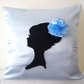 Elegant Romantic Lady Portrait Floral Headpiece Ice Blue Decorative Pillow Cover. 17inch Pale Blue Bridal Cushion Cover. Girls Room Decor