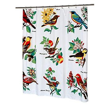 BenandJonah Collection Fabric Shower Curtain 70 x 72 inch  Aviary Bird Lovers Audubon
