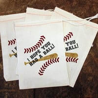 Baseball Birthday Party Decor - Toddler Sports Birthday / Baseball Party Favor Bag / Candy Bag Baseball / Customized Thank You / Muslin Bags
