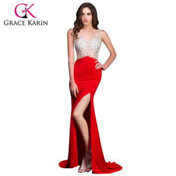 2016 New Grace Karin Long Red Mermaid Evening Dresses Micro Fiber Open Back Backless Evening Gowns Sequins Beading CL008914