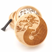 "Wooden Grinder - Yin Yang Tree of Life - 2"" Custom Herb Grinder - Spirit Series"