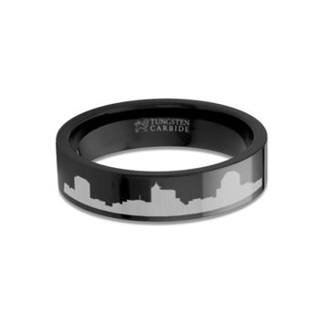 Raleigh City Skyline Cityscape Engraved Black Tungsten Ring