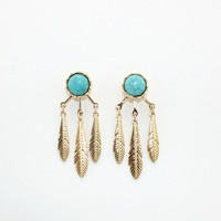 Minimalist Boho Feather Ear Jacket Earrings with Stone Studs by Fashnin.com
