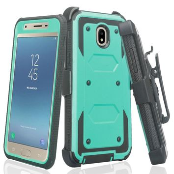 Samsung Galaxy J3 2018, J3 V 3rd Gen, J3 Orbit, Express Prime 3, SM-J337A Case, J3 Star, J3 Achieve, J3 Aura, Amp Prime 3, Triple Protection 3-1 w/ Built in Screen Protector Heavy Duty Holster Shell Combo Case - Teal