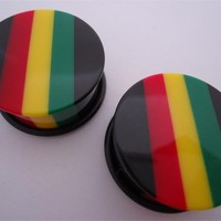 Rasta Striped Plugs (6 gauge - 1 inch)