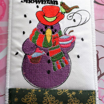 Quilted Fabric Postcard Snowman - Christmas Fabric Postcard - Handmade Fabric Postcard - Holiday Fabric Postcard -Seasons Fabric Postcard