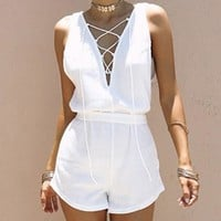 Sexy V-Neck Lace Up Jumpsuit Romper Women Causal White Hollow Out Playsuit Solid Sleeveless