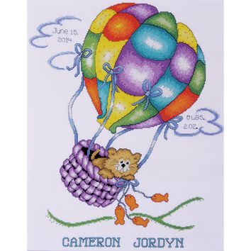 "Balloon Cat Birth Record Counted Cross Stitch Kit 11""X14"" 18 Count"