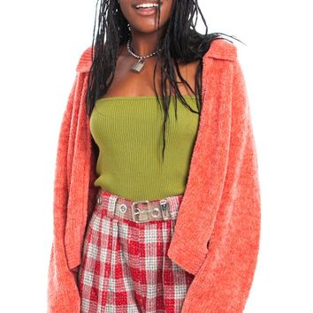 Vintage 90's Salmon Pink Plush Zip-Front Cardigan - One Size Fits Many