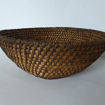 ON SALE Antique French Rye Coiled Basket, Home Decor