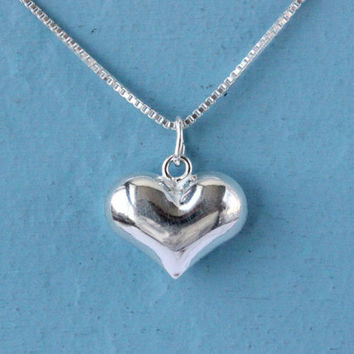 Heart necklace, Sterling silver medium puffed heart charm on box chain, silver necklace, love necklace, gift for her, silver heart