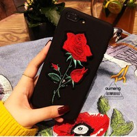 Fashion Rose Embroidery iPhone 6 6s 7 7 Plus Phone Cover Case
