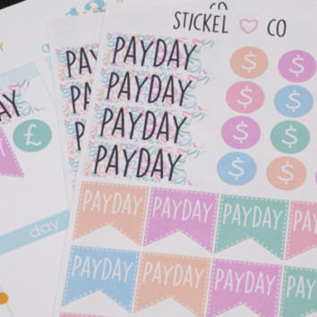 28 Payday/Money Stickers - Planner Stickers, Perfect for Erin Condren and other Life Planners