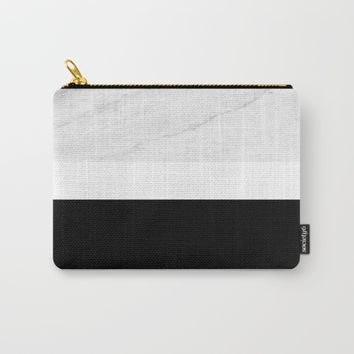 Marble Black White Carry-All Pouch by ARTbyJWP