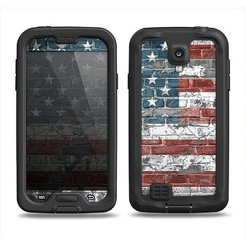 The Vintage USA Flag Samsung Galaxy S4 LifeProof Fre Case Skin Set